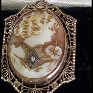 Jewelry - Vintage estate antique diamond genuine cameo